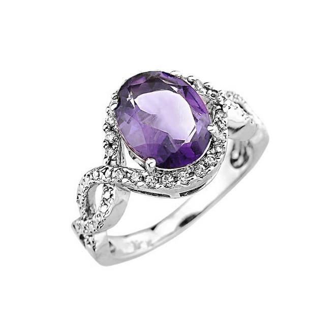 White Gold (LCA) Alexandrite and Diamond Infinity Engagement Ring