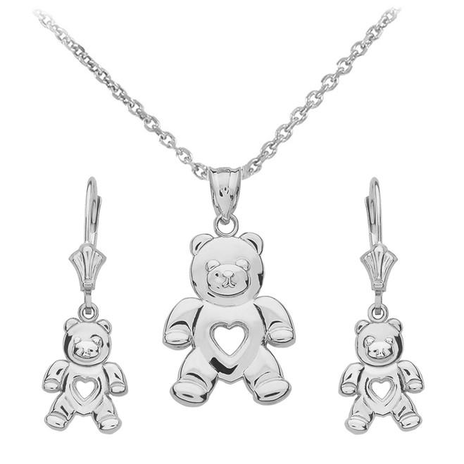 14K White Gold Love Bear Necklace Earring Set