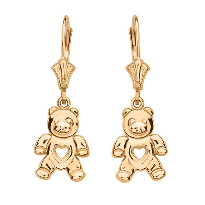 14K Yellow Gold Love Bear Earrings
