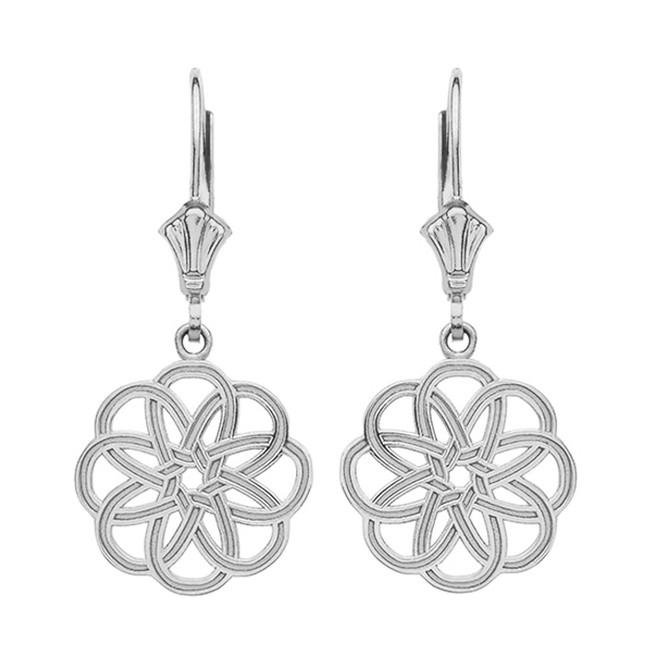 Sterling Silver Celtic Knot Round Flower Earrings