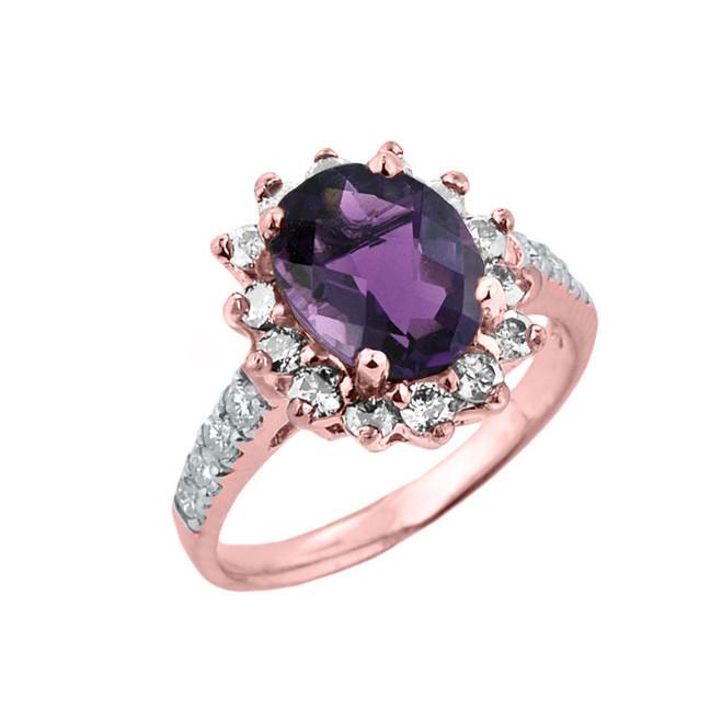 Rose Gold Diamond And Alexandrite (LCA) June Birthstone Proposal Ring