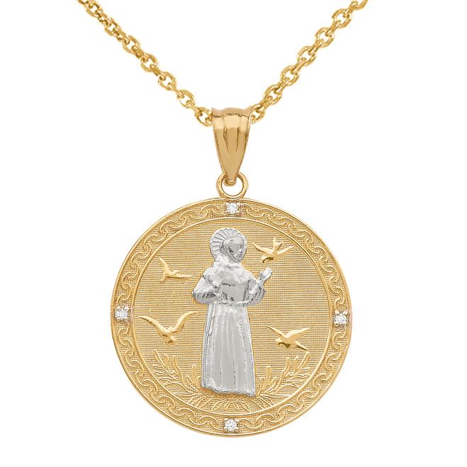 Two Tone Yellow Gold St. Francis of Assisi Circle Medallion Diamond Pendant Necklace (Medium)