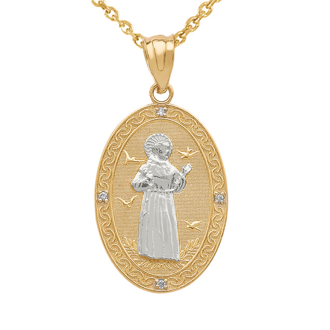 Two Tone Yellow Gold St. Francis of Assisi Oval Medallion Diamond Pendant Necklace (Medium)