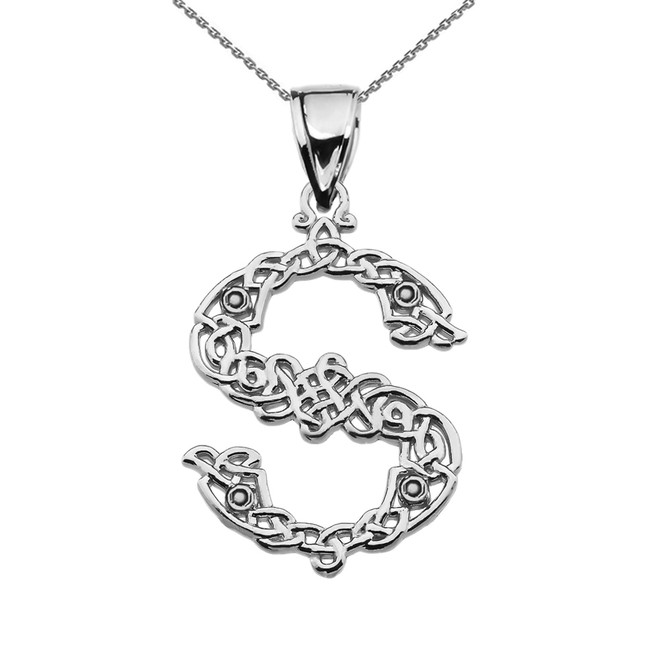 """""""S"""" Initial In Celtic Knot Pattern Sterling Silver Pendant Necklace"""