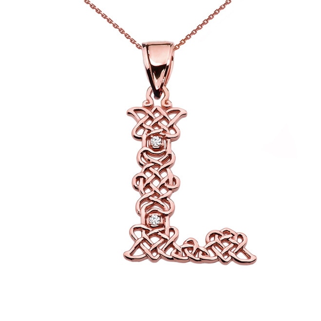 """""""L"""" Initial In Celtic Knot Pattern Rose Gold Pendant Necklace With Diamond"""
