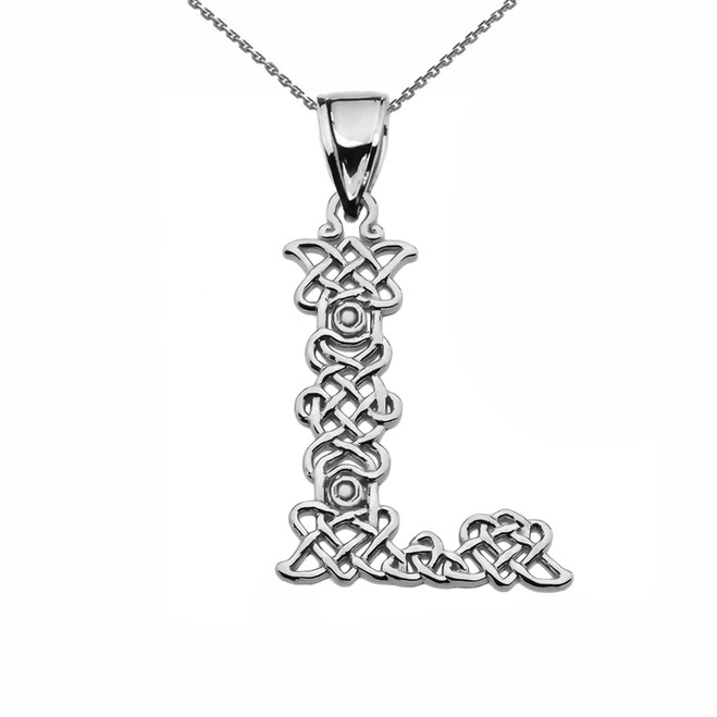 """L"" Initial In Celtic Knot Pattern Sterling Silver Pendant Necklace"