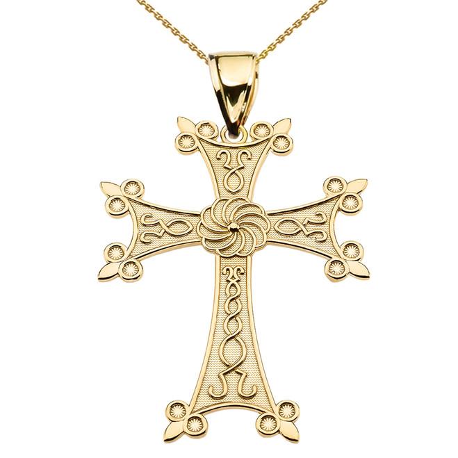 "Eternity Armenian Cross ""Khachkar"" Yellow Gold Pendant Necklace (Large)"