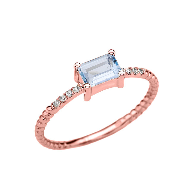 Rose Gold Solitaire Emerald Cut Aquamarine and Diamond Rope Design Engagement/Promise Ring