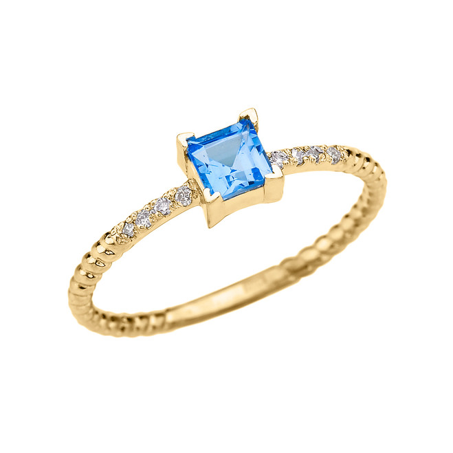 Dainty Yellow Gold Solitaire Princess Cut Blue Topaz and Diamond Rope Design Engagement/Promise Ring
