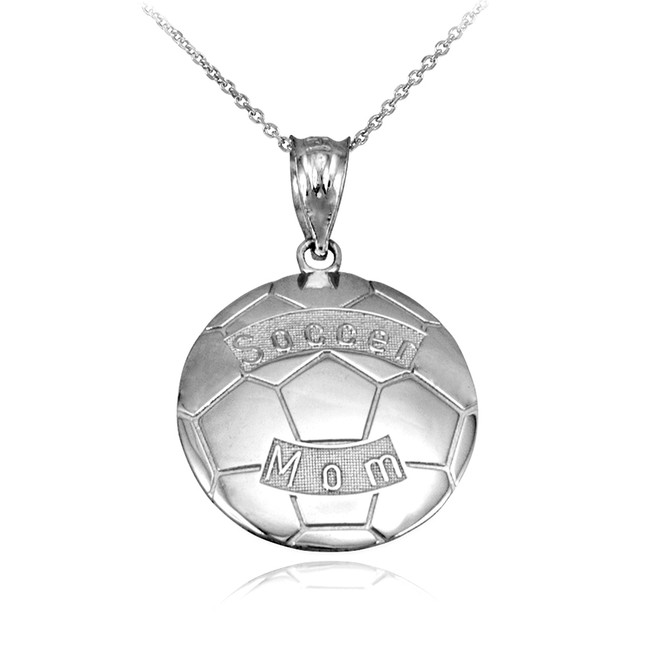 White Gold Soccer Mom Soccer Ball Sports Pendant Necklace