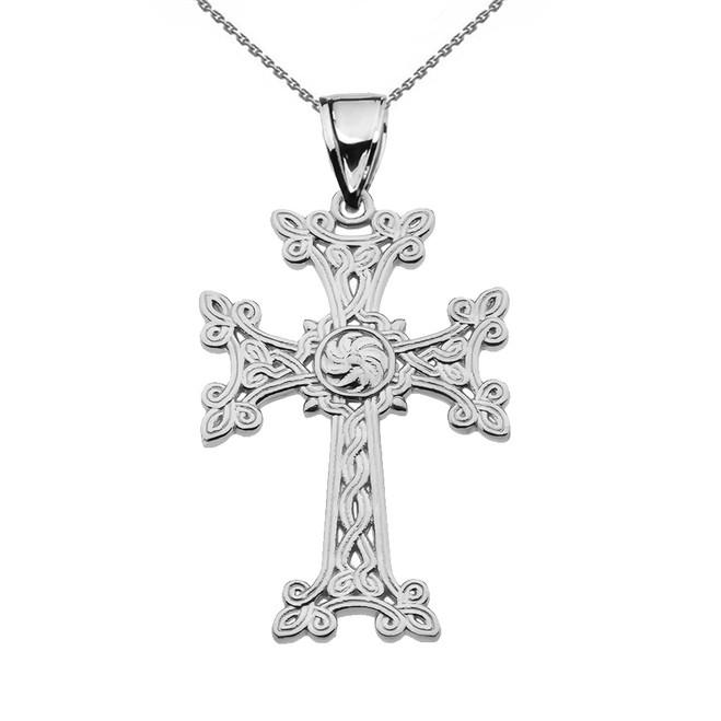 "Eternity ""Khachkar"" Armenian Cross Sterling Silver Pendant Necklace (Medium)"