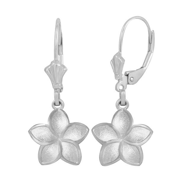 14K White Gold Five Petal Diamond Cut Plumeria Flower Matte Earring Set  (Small)