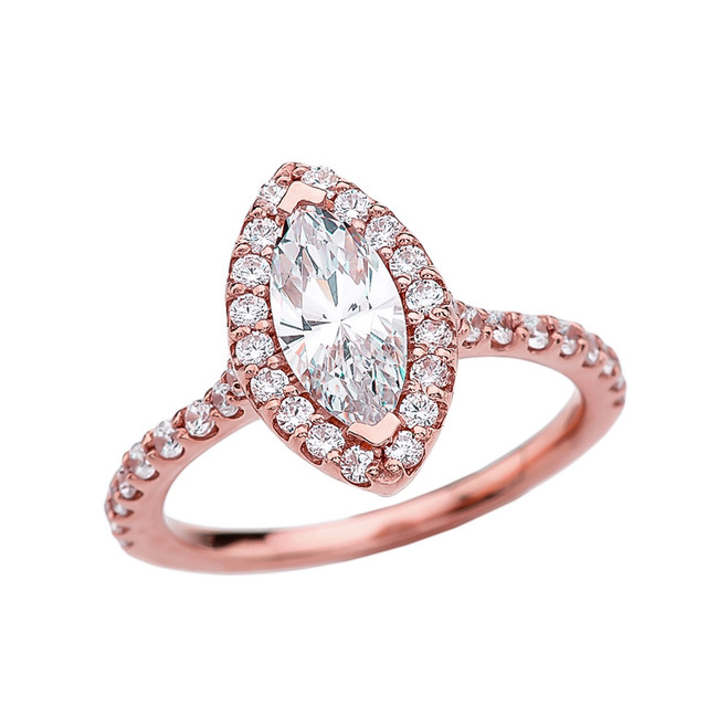 1.5 Carat Cubic Zirconia Marquise Solitaire Elegant Rose Gold Engagement Proposal Ring