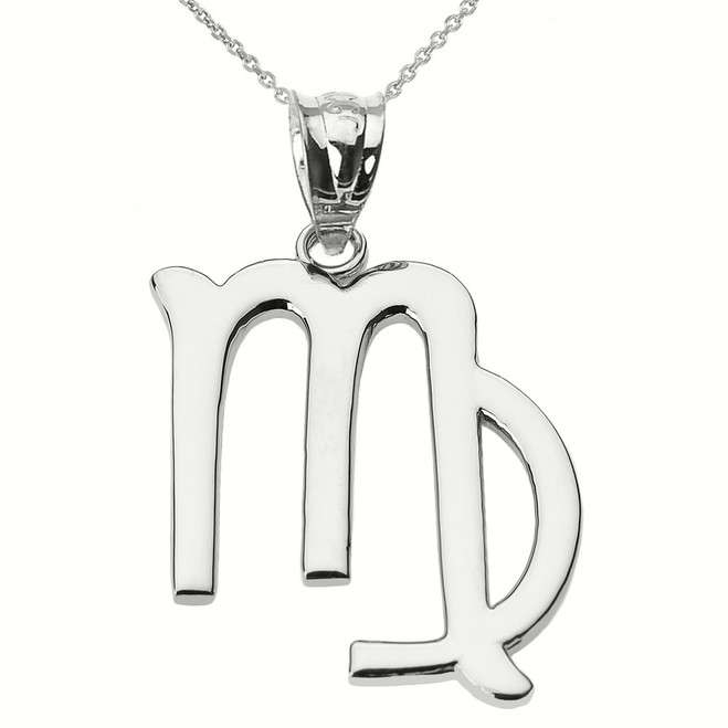 Sterling Silver Virgo September Zodiac Sign Pendant Necklace