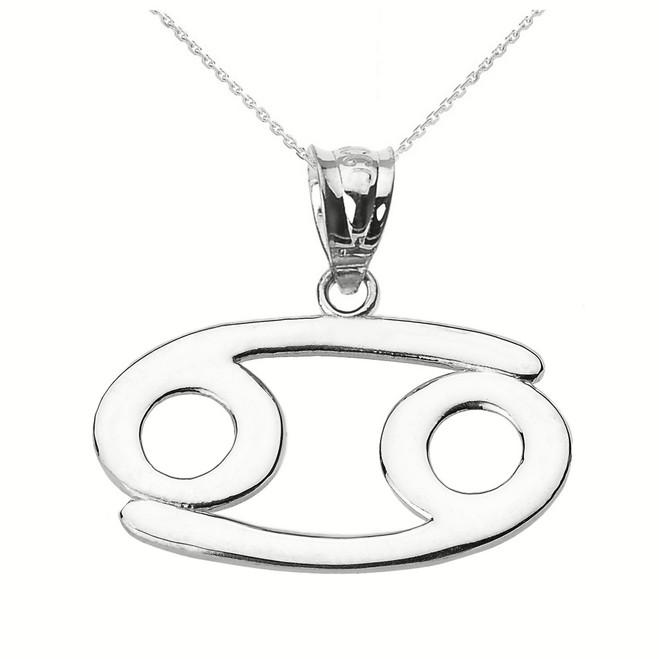 Sterling Silver Cancer July Zodiac Sign Pendant Necklace