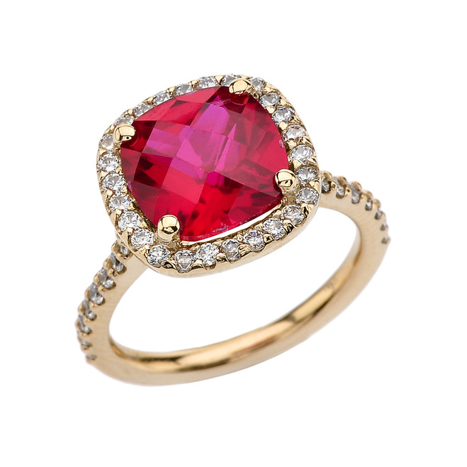 Halo Cushion 5 Ct Checkerboard Ruby(LCR) and Diamond Yellow Gold Engagement and Proposal/Promise Ring