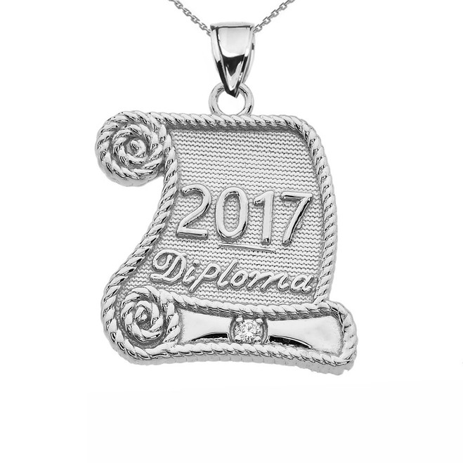 White Gold Class of 2017 Graduation Diploma With Diamond Pendant Necklace