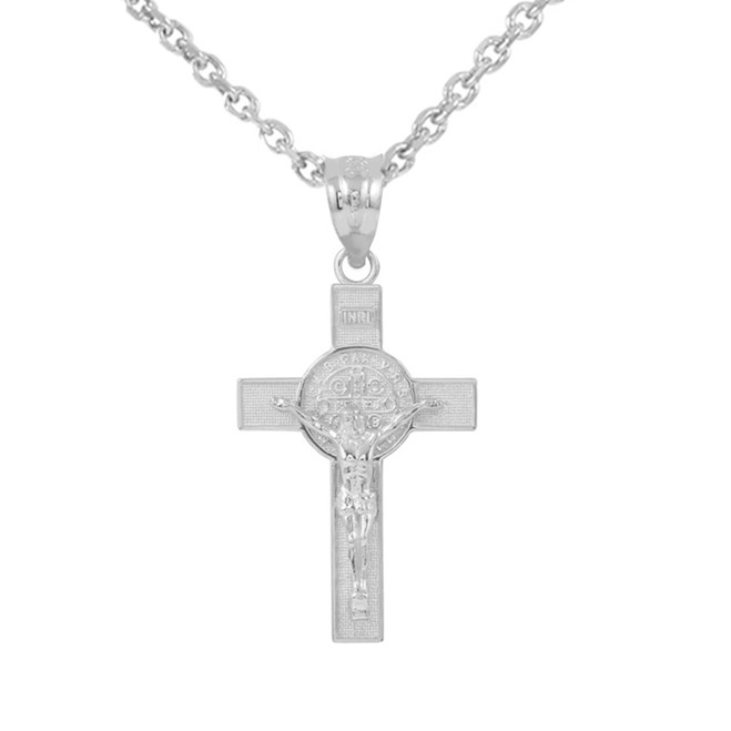 "White Gold St. Benedict Crucifix Pendant Necklace (1.30"")"