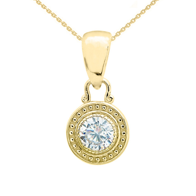 Solitaire Cubic Zirconia Yellow Gold Pendant Necklace