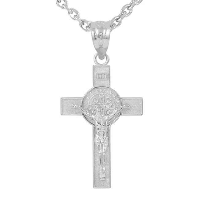 "White Gold St. Benedict Crucifix Pendant Necklace (1.60"")"