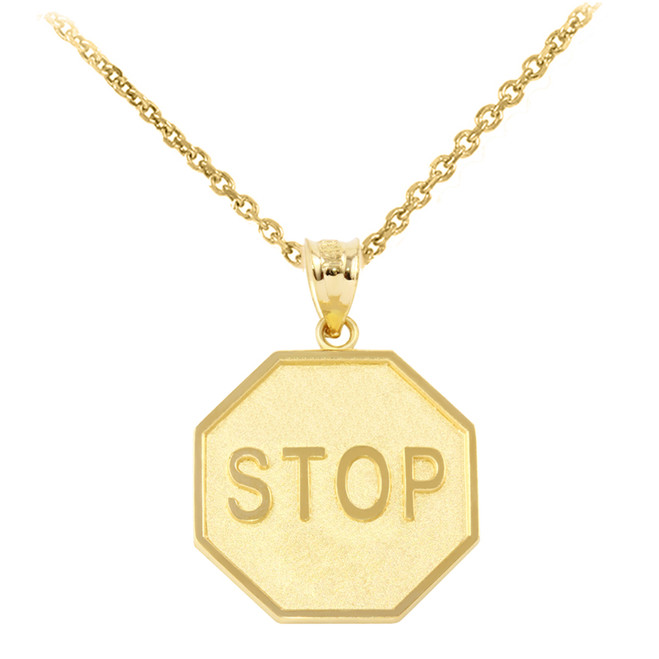 Yellow Gold Stop Sign Charm Pendant Necklace