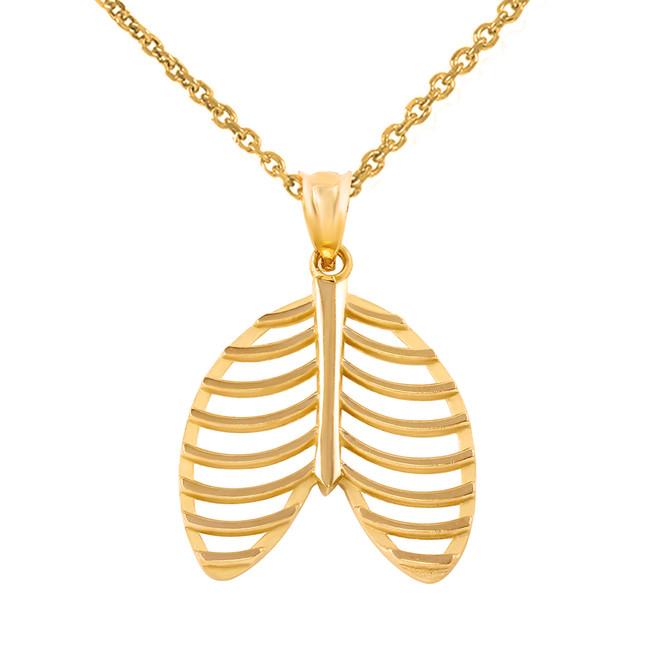 Yellow Gold Human Rib Cage Anatomy Pendant Necklace
