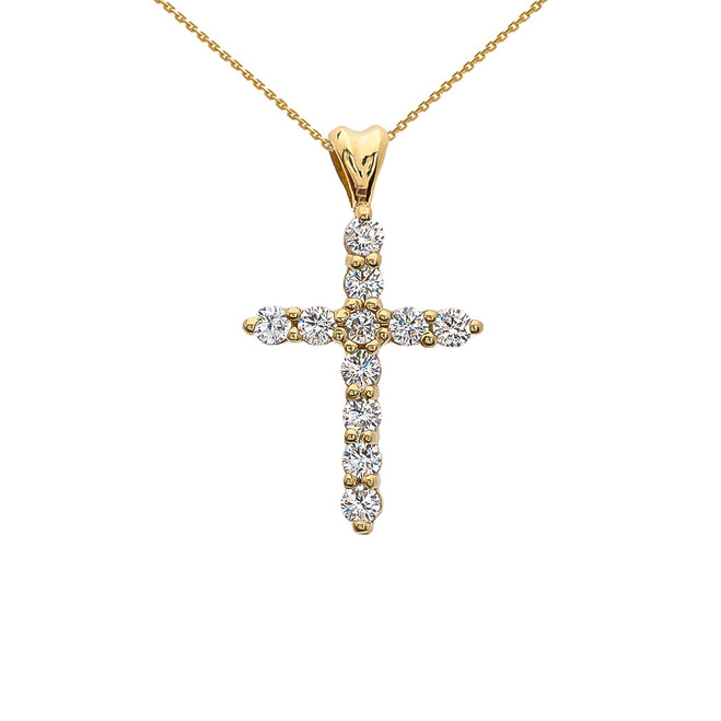 Cubic Zirconia Cross Yellow Gold Pendant Necklace