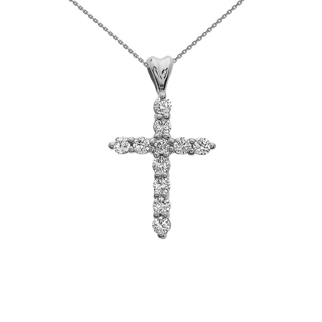Cubic Zirconia Cross White Gold Pendant Necklace