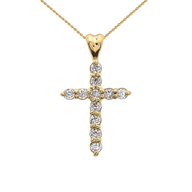 Yellow Gold Elegant Cubic Zirconia (CZ) Cross Pendant Necklace