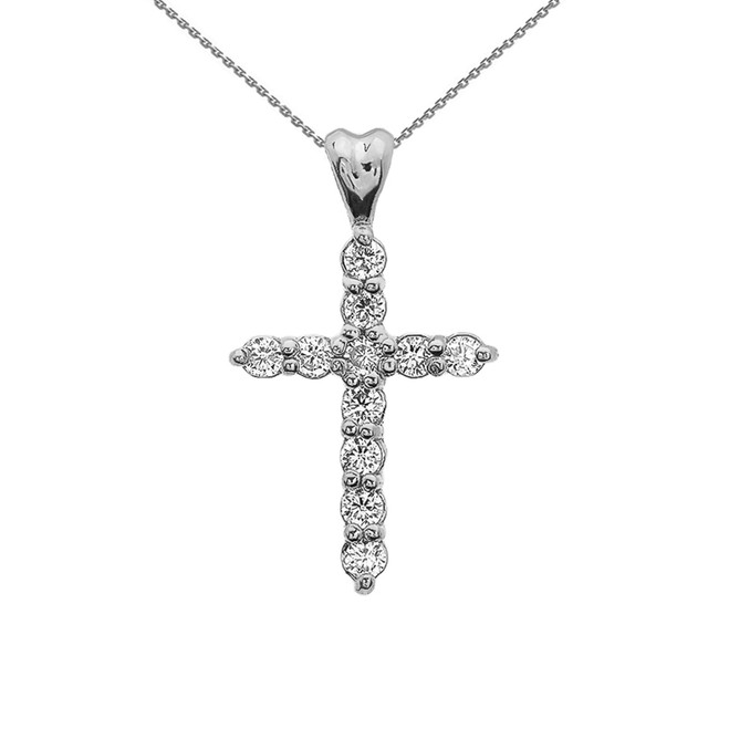 White Gold Elegant Cubic Zirconia (CZ) Cross Pendant Necklace
