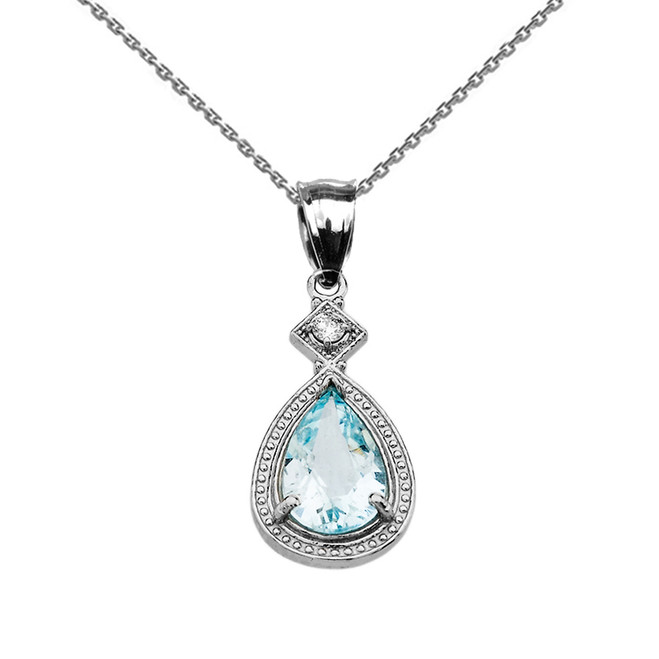 White Gold Aquamarine and Diamond Pendant Necklace