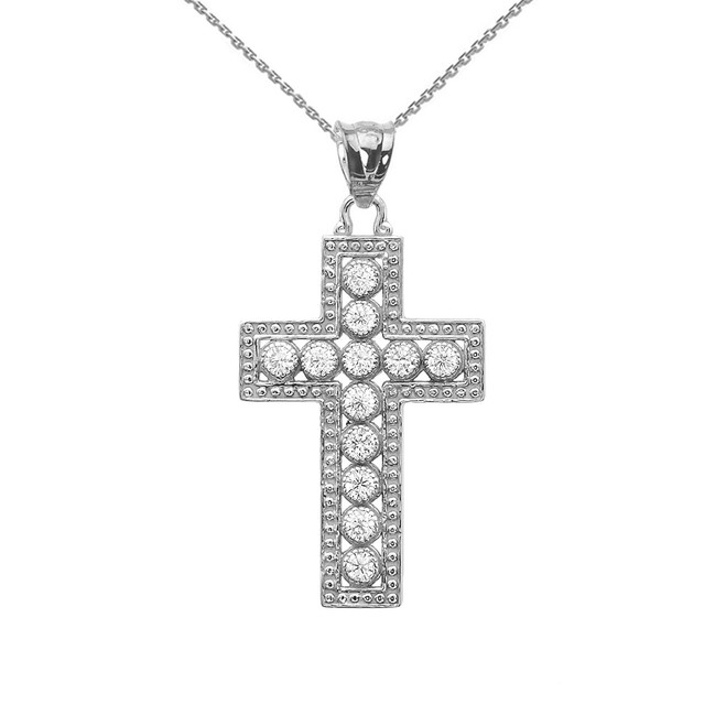 White Gold Diamond Cross  Pendant Necklace