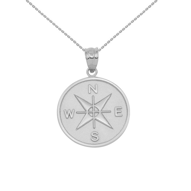 Sterling Silver Compass Medallion Pendant Necklace