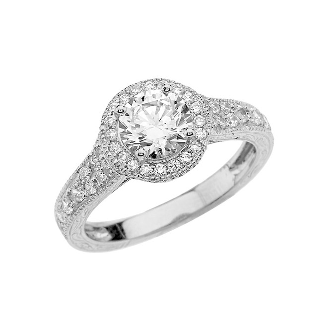 White Gold Art Deco Engagement/Anniversary Ring With Cubic Zirconia