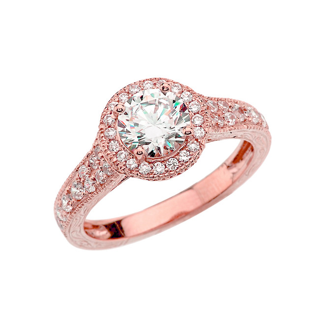 Rose Gold Art Deco Engagement/Anniversary Ring With Cubic Zirconia