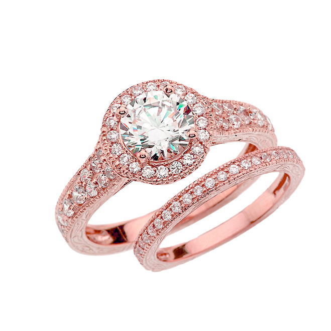 Rose Gold Art Deco Diamond Wedding Ring Set With 1 ct White Topaz Center Stone