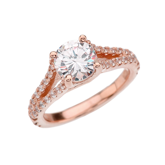 Rose Gold Double Raw Engagement/Proposal Ring With Cubic Zirconia