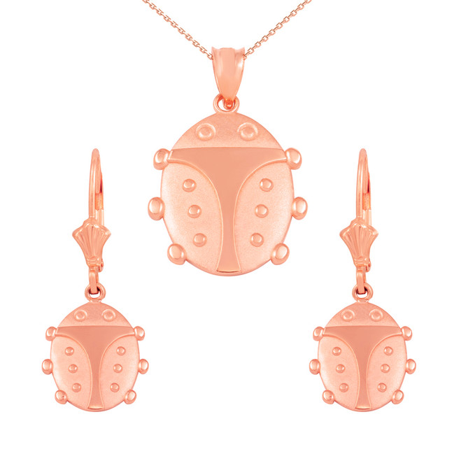 14K Rose Gold Lucky Ladybug Pendant Necklace Earring Set