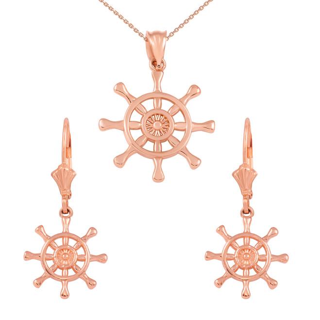 14K Rose Gold Nautical Ship Wheel Pendant Necklace Earring Set
