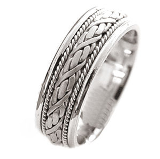 14k White Gold Braided Wedding Band
