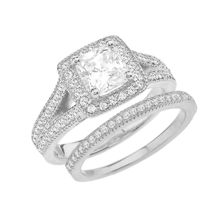 White Gold Cubic Zirconia Engagement/Anniversary Ring Set