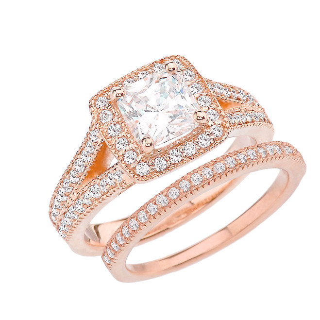 Rose Gold Diamond Engagement/Anniversary Ring Set With Cubic Zirconia Center Stone