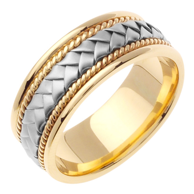 Two Tone Gold Hand Woven Wedding Band