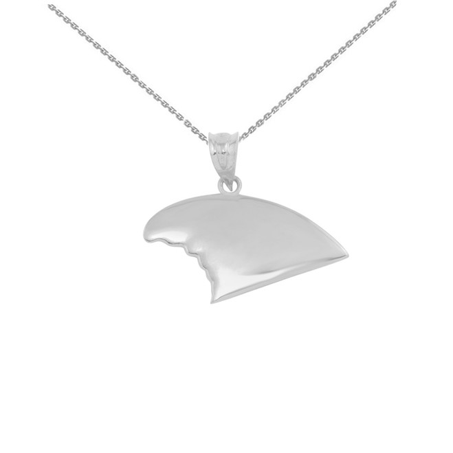 White Gold Shark Fin Pendant Necklace