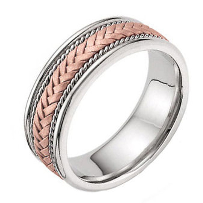 Two-Tone Rose Gold Hand-Braided Wedding Band
