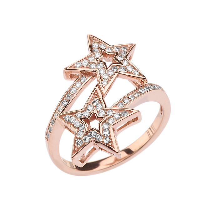 Rose Gold Double Star Fancy Anniversary Ring