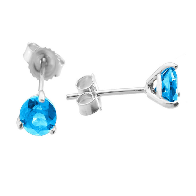 White Gold Blue Topaz Martini Stud Earrings