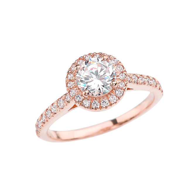Rose Gold Diamond Engagement/Proposal Ring With White Topaz In The Center