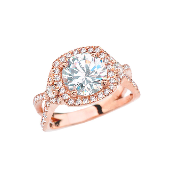 Rose Gold Twisted Halo Engagement/Proposal Ring With Cubic Zirconia