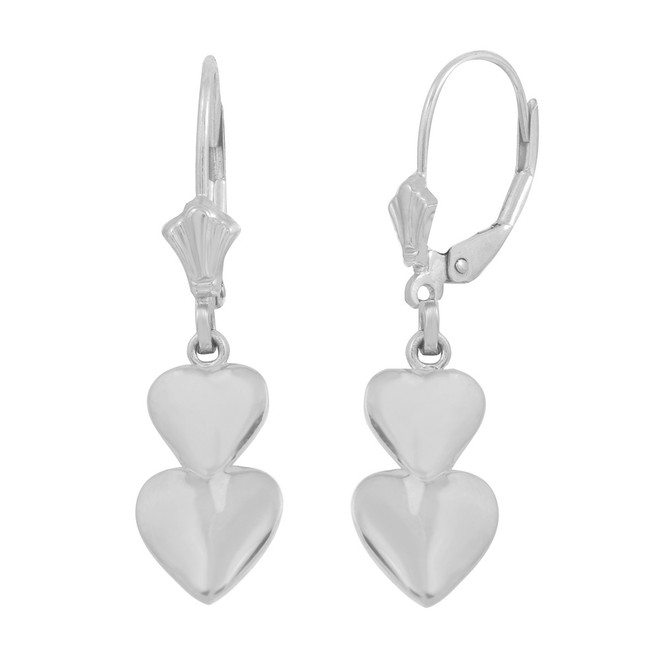 14K White Solid Gold Two Stacked Hearts Love Earring Set
